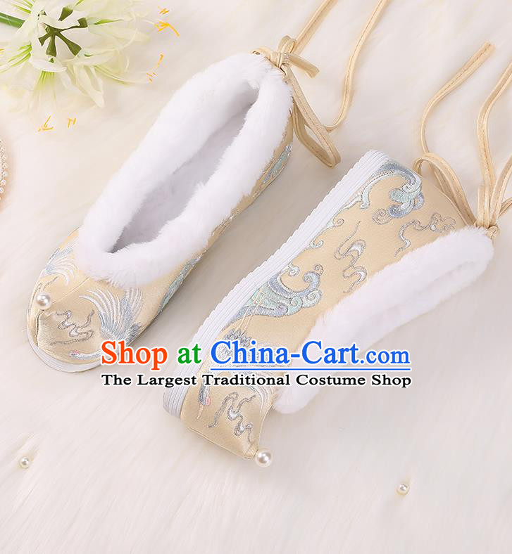 Asian Chinese Winter Shoes Embroidered Crane Golden Shoes Traditional Opera Shoes Hanfu Shoes for Women