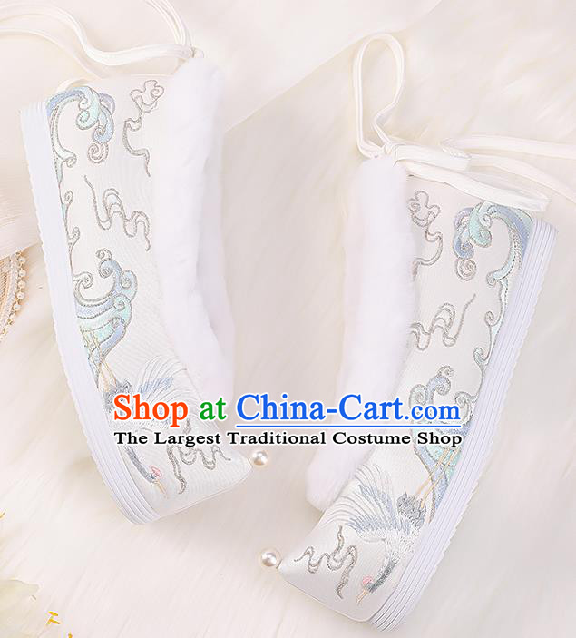 Asian Chinese Winter Shoes Embroidered Crane White Shoes Traditional Opera Shoes Hanfu Shoes for Women