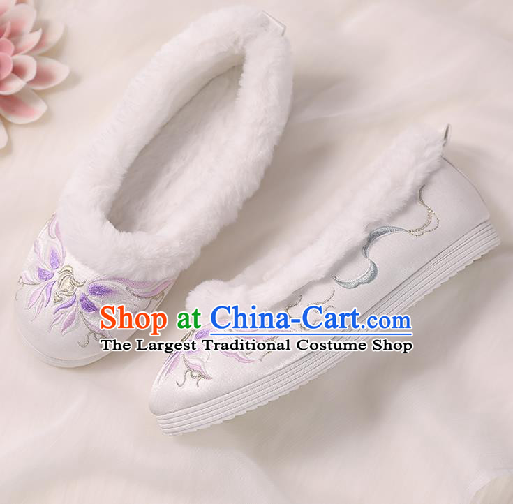Asian Chinese Winter Shoes Embroidered Purple Flower Shoes Traditional Opera Shoes Hanfu Shoes for Women