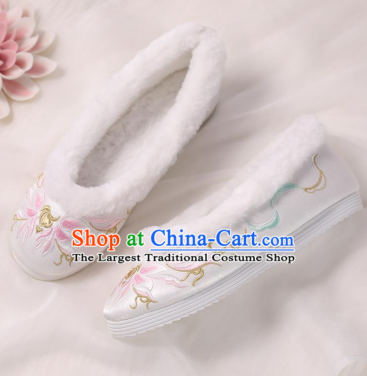 Asian Chinese Winter Shoes Embroidered Pink Flower Shoes Traditional Opera Shoes Hanfu Shoes for Women