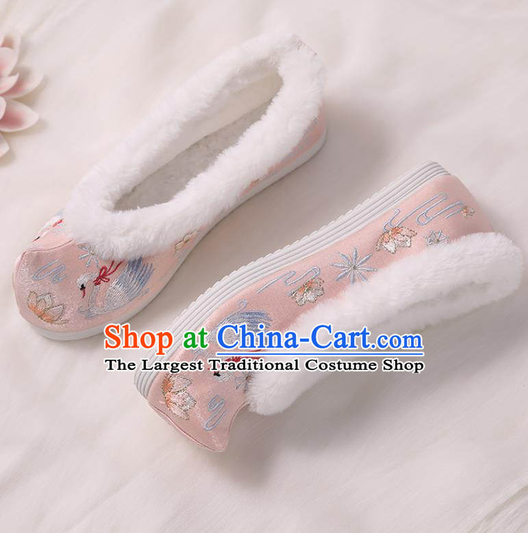 Asian Chinese Winter Pink Bow Shoes Embroidered Swan Shoes Traditional Opera Shoes Hanfu Shoes for Women