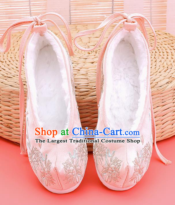 Asian Chinese Winter Light Pink Bow Shoes Embroidered Epiphyllum Shoes Traditional Opera Shoes Hanfu Shoes for Women