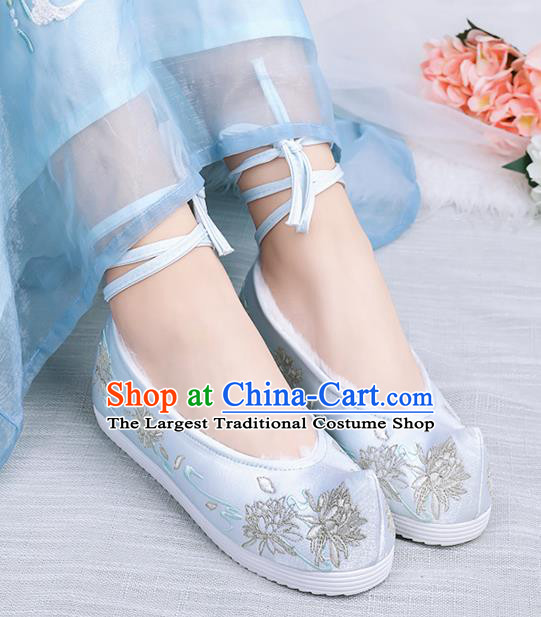 Asian Chinese Winter Light Blue Bow Shoes Embroidered Epiphyllum Shoes Traditional Opera Shoes Hanfu Shoes for Women