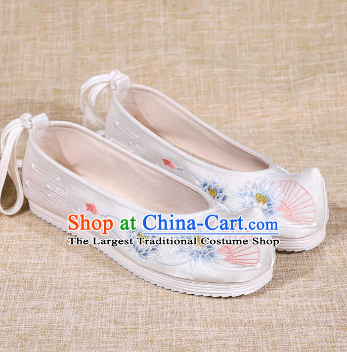 Asian Chinese White Bow Shoes Embroidered Epiphyllum Shoes Traditional Opera Shoes Hanfu Shoes for Women