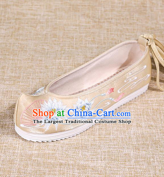 Asian Chinese Golden Bow Shoes Embroidered Epiphyllum Shoes Traditional Opera Shoes Hanfu Shoes for Women