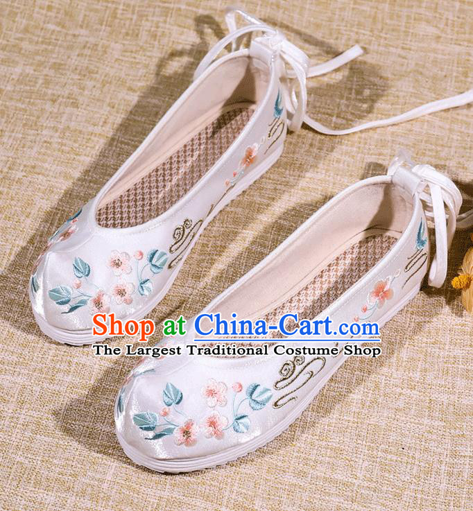 Asian Chinese Satin Shoes Embroidered Flowers White Shoes Traditional Opera Shoes Hanfu Shoes for Women