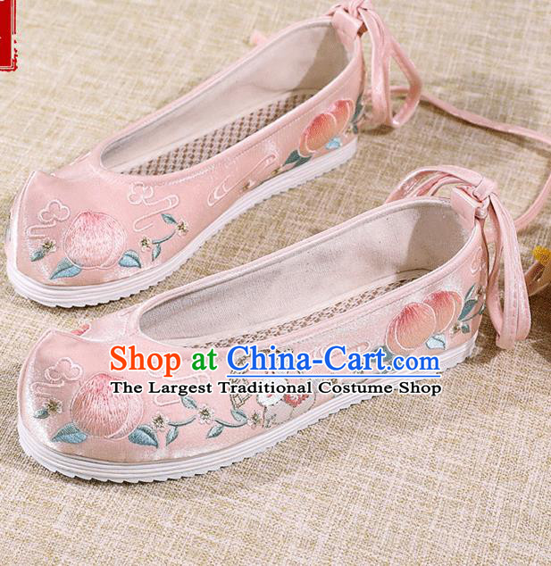 Asian Chinese Pink Satin Shoes Embroidered Rabbit Shoes Traditional Opera Shoes Hanfu Shoes for Women
