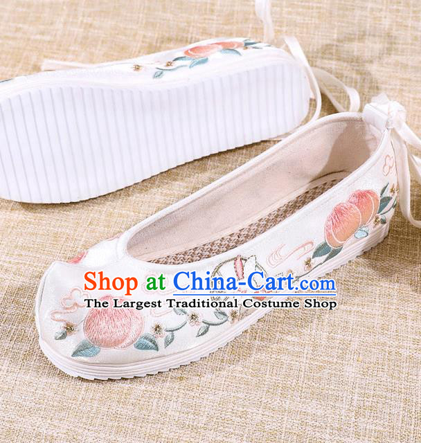 Asian Chinese White Satin Shoes Embroidered Rabbit Shoes Traditional Opera Shoes Hanfu Shoes for Women