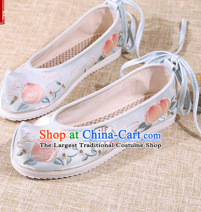 Asian Chinese Blue Satin Shoes Embroidered Rabbit Shoes Traditional Opera Shoes Hanfu Shoes for Women