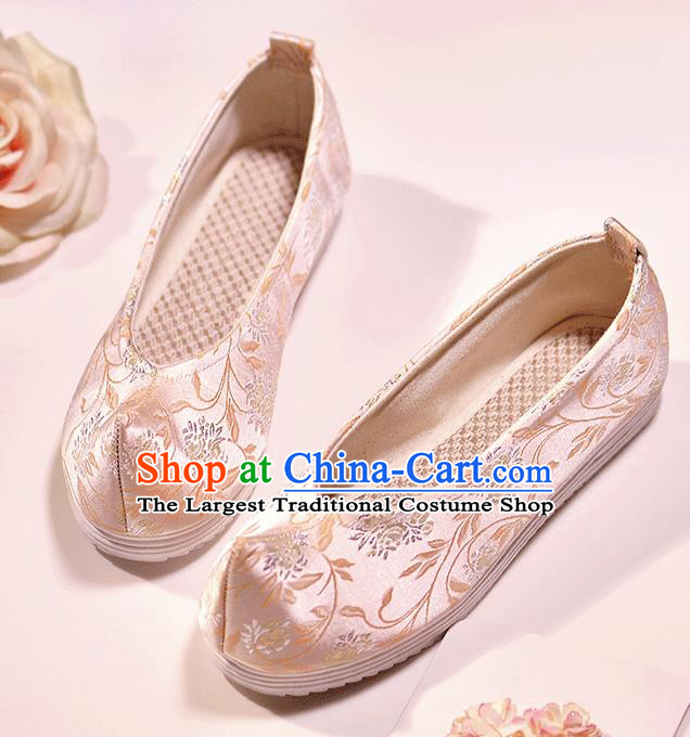 Asian Chinese Ming Dynasty Pink Satin Shoes Embroidered Shoes Traditional Opera Shoes Hanfu Shoes for Women