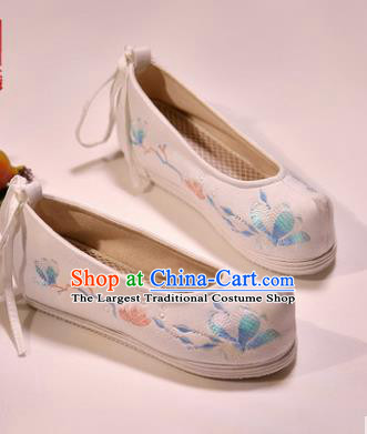Asian Chinese Hanfu Shoes White Embroidered Shoes Traditional Opera Shoes Princess Shoes for Women