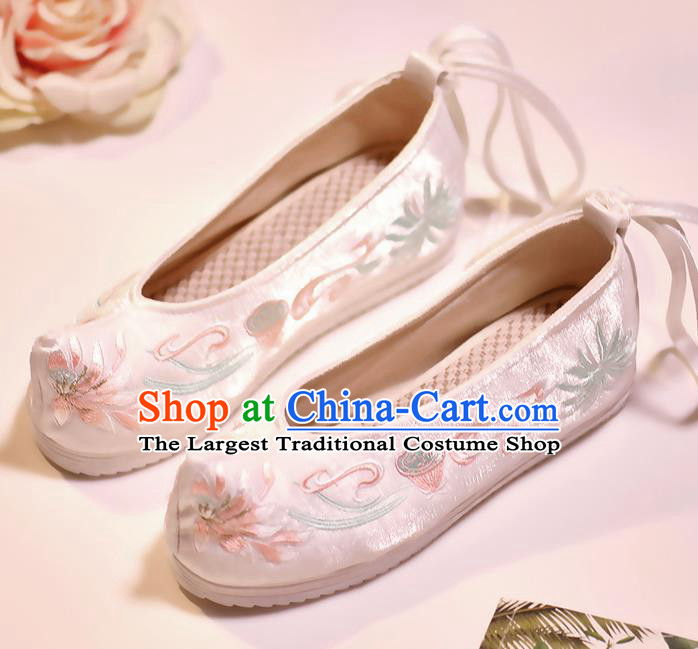 Asian Chinese Embroidered Lotus White Shoes Hanfu Shoes Traditional Opera Shoes Princess Shoes for Women
