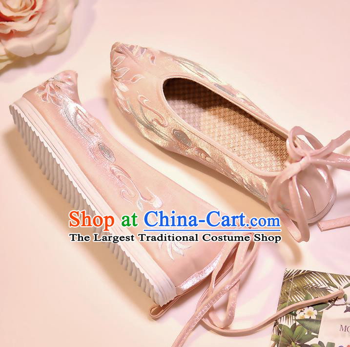 Asian Chinese Embroidered Lotus Pink Shoes Hanfu Shoes Traditional Opera Shoes Princess Shoes for Women