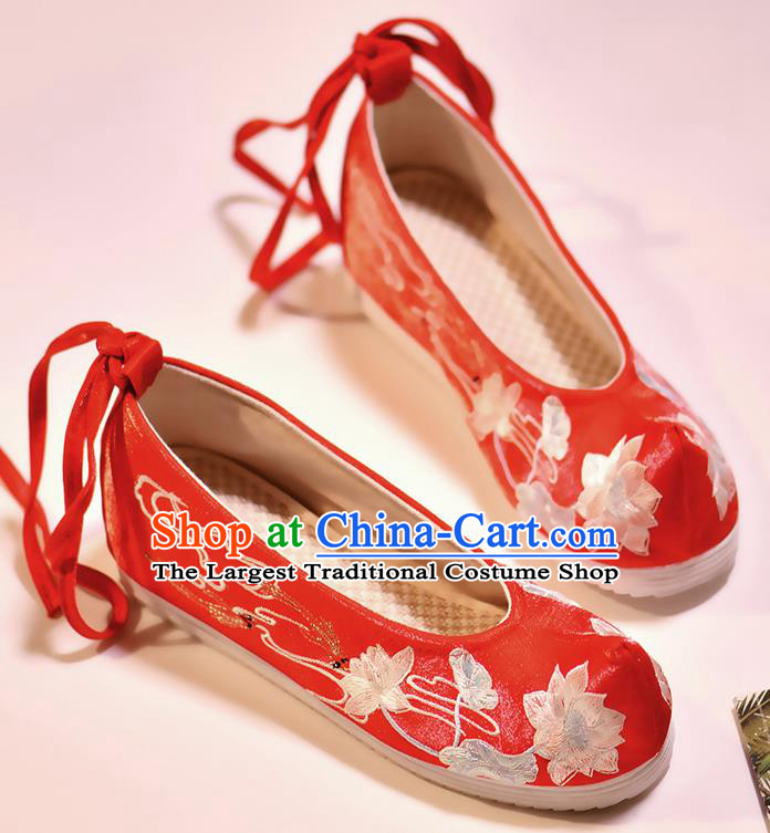 Asian Chinese Embroidered Fish Lotus Red Shoes Hanfu Shoes Traditional Opera Shoes Princess Shoes for Women