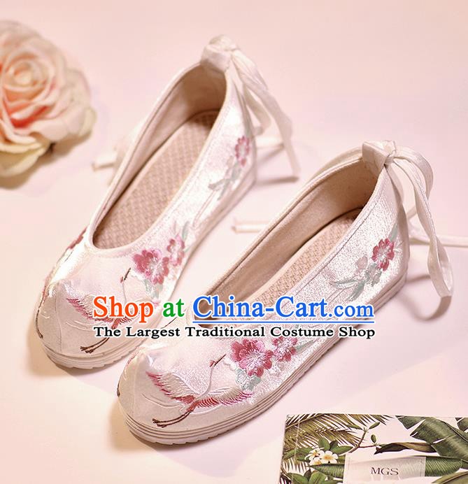 Asian Chinese Embroidered Crane Flowers White Shoes Hanfu Shoes Traditional Opera Shoes Princess Shoes for Women