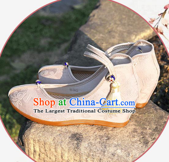 Asian Chinese Beige Flax Shoes Hanfu Shoes Traditional Opera Shoes Princess Shoes for Women