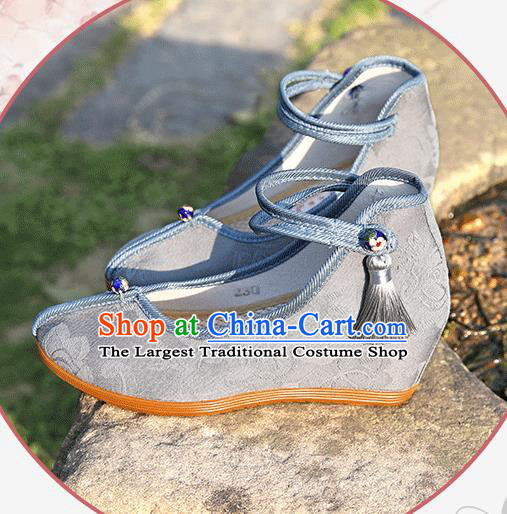 Asian Chinese Light Blue Flax Shoes Hanfu Shoes Traditional Opera Shoes Princess Shoes for Women