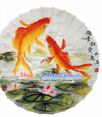 Chinese Traditional Printing Fishes Lotus Oil Paper Umbrella Artware Paper Umbrella Classical Dance Umbrella Handmade Umbrellas