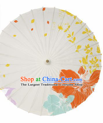 Chinese Traditional Printing Flower White Oil Paper Umbrella Artware Paper Umbrella Classical Dance Umbrella Handmade Umbrellas