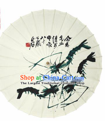 Chinese Traditional Printing Shrimp Oil Paper Umbrella Artware Paper Umbrella Classical Dance Umbrella Handmade Umbrellas