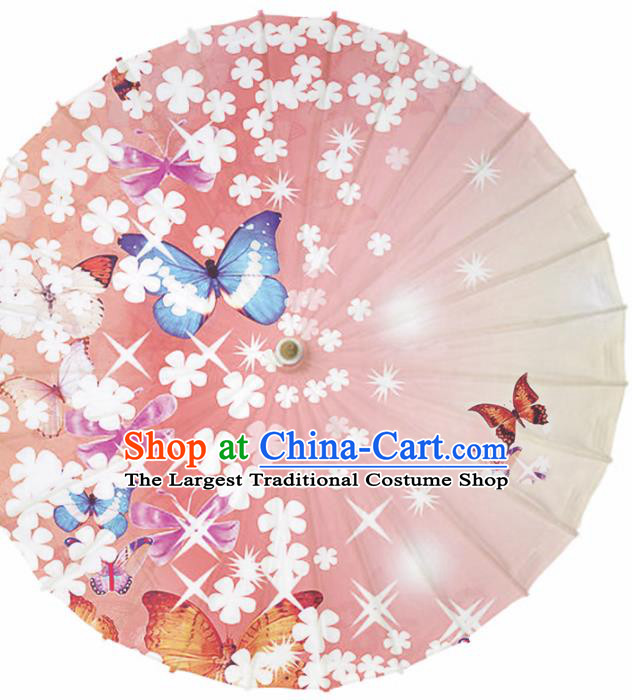 Chinese Traditional Artware Paper Umbrella Classical Dance Umbrella Printing Flowers Butterfly Oil-paper Umbrella Handmade Umbrella