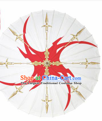 Chinese Traditional Printing White Oil Paper Umbrella Artware Paper Umbrella Classical Dance Umbrella Handmade Umbrellas