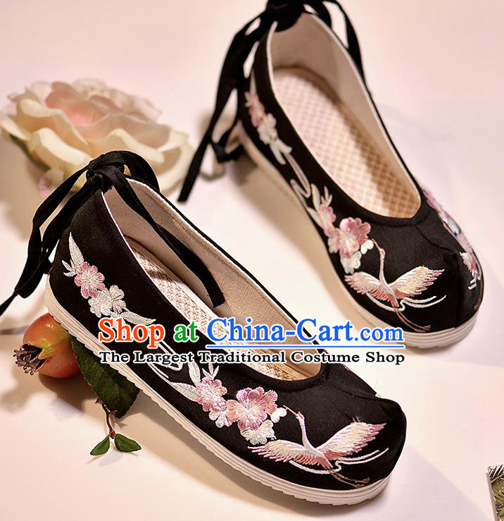 Asian Chinese Embroidered Crane Flowers Black Shoes Hanfu Shoes Traditional Opera Shoes Princess Shoes for Women