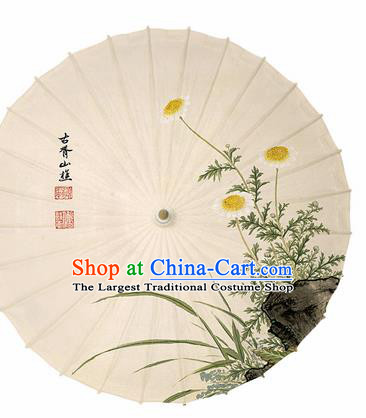 Chinese Traditional Ink Painting Chrysanthemum Oil Paper Umbrella Artware Paper Umbrella Classical Dance Umbrella Handmade Umbrellas