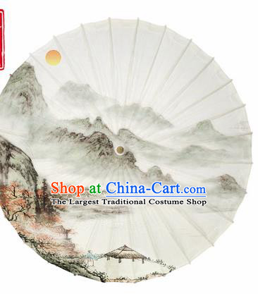 Chinese Traditional Printing Landscape White Oil Paper Umbrella Artware Paper Umbrella Classical Dance Umbrella Handmade Umbrellas