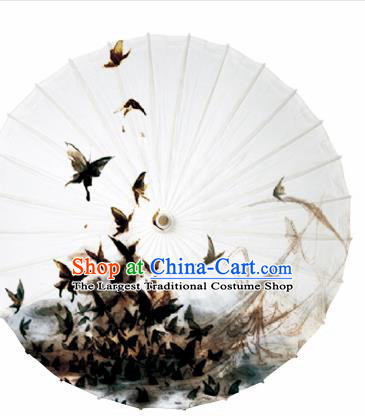 Chinese Traditional Printing Black Butterfly Oil Paper Umbrella Artware Paper Umbrella Classical Dance Umbrella Handmade Umbrellas