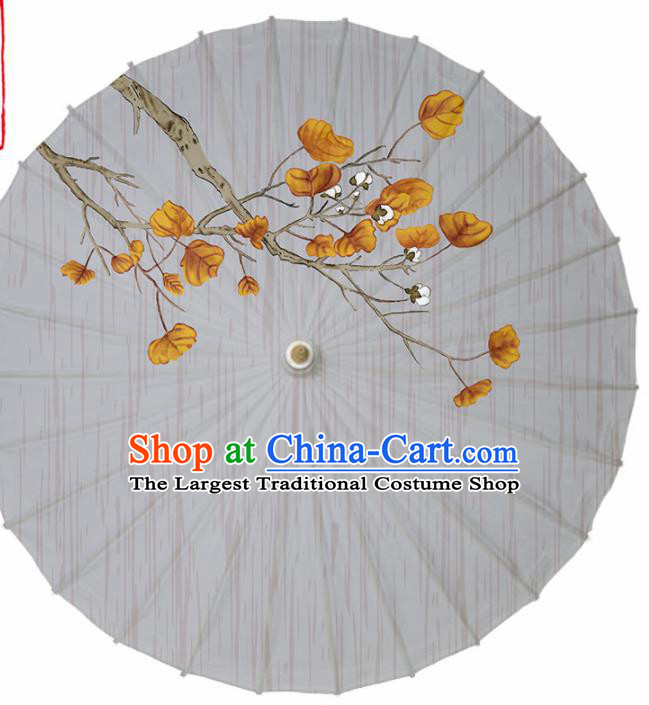 Chinese Traditional Printing Grey Oil Paper Umbrella Artware Paper Umbrella Classical Dance Umbrella Handmade Umbrellas