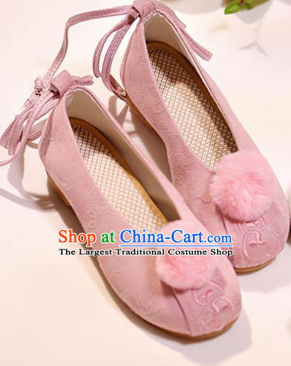Asian Chinese National Pink Shoes Hanfu Shoes Traditional Opera Shoes Princess Shoes for Women