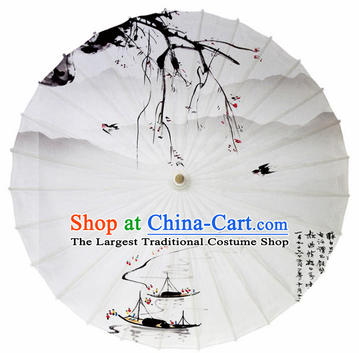 Chinese Traditional Ink Painting Boats Oil Paper Umbrella Artware Paper Umbrella Classical Dance Umbrella Handmade Umbrellas