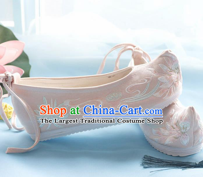 Asian Chinese Embroidered Lotus Pink Bow Shoes Hanfu Shoes Traditional Opera Shoes Princess Shoes for Women