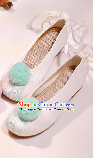 Asian Chinese National White Shoes Hanfu Shoes Traditional Opera Shoes Princess Shoes for Women