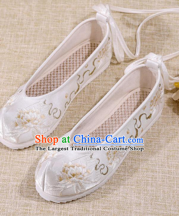 Asian Chinese Embroidered Epiphyllum White Shoes Hanfu Shoes Traditional Opera Shoes Princess Shoes for Women