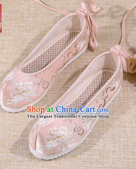 Asian Chinese Embroidered Epiphyllum Pink Shoes Hanfu Shoes Traditional Opera Shoes Princess Shoes for Women