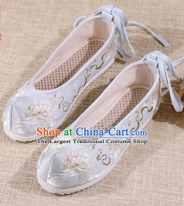 Asian Chinese Embroidered Epiphyllum Light Blue Shoes Hanfu Shoes Traditional Opera Shoes Princess Shoes for Women