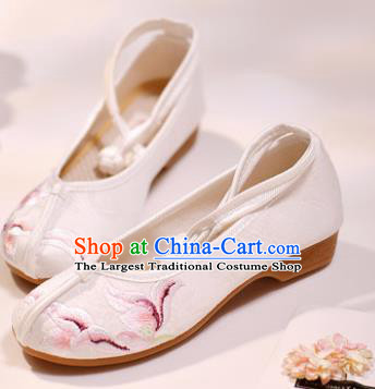 Asian Chinese Embroidered White Cloth Shoes Hanfu Shoes Traditional Opera Shoes Princess Shoes for Women