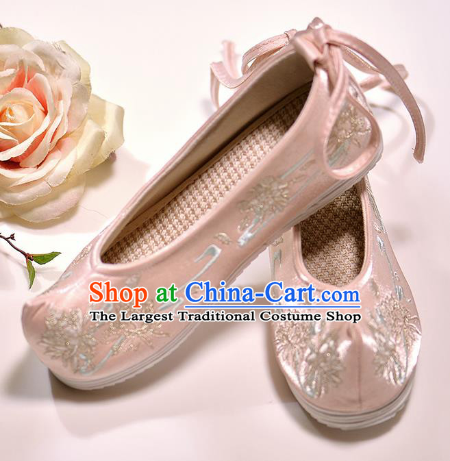 Asian Chinese Embroidered Epiphyllum Pink Satin Shoes Hanfu Shoes Traditional Opera Shoes Princess Shoes for Women