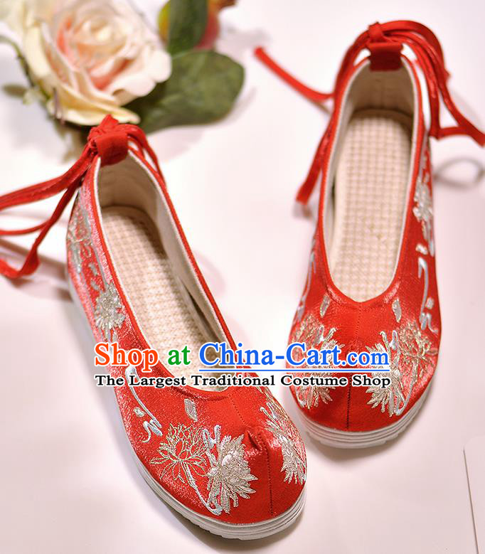Asian Chinese Embroidered Epiphyllum Red Satin Shoes Hanfu Shoes Traditional Opera Shoes Princess Shoes for Women