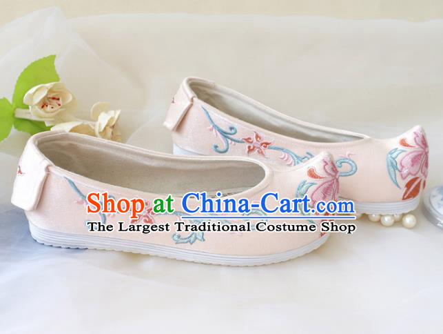 Asian Chinese Embroidered Light Pink Bow Shoes Hanfu Shoes Traditional Opera Shoes Princess Shoes for Women