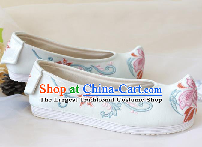 Asian Chinese Embroidered White Bow Shoes Hanfu Shoes Traditional Opera Shoes Princess Shoes for Women