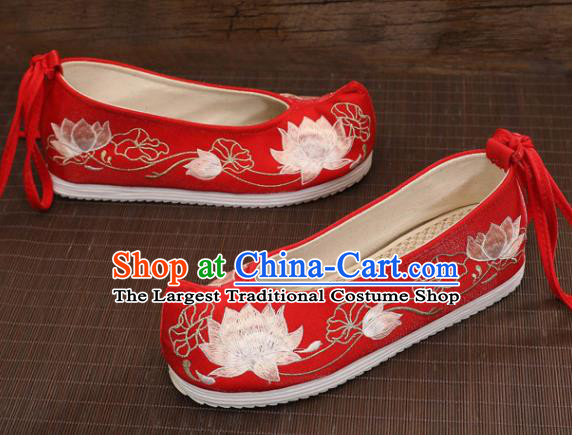 Asian Chinese Embroidered Lotus Red Bow Shoes Hanfu Shoes Traditional Opera Shoes Princess Shoes for Women