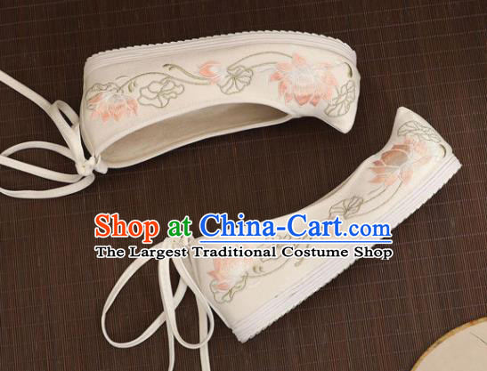 Asian Chinese Embroidered Lotus White Bow Shoes Hanfu Shoes Traditional Opera Shoes Princess Shoes for Women
