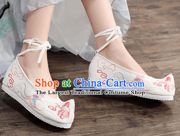 Asian Chinese Embroidered Phoenix Peony White Bow Shoes Hanfu Shoes Traditional Opera Shoes Princess Shoes for Women