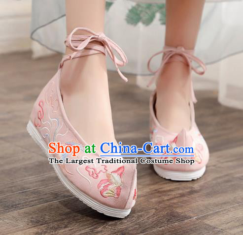 Asian Chinese Embroidered Phoenix Peony Pink Bow Shoes Hanfu Shoes Traditional Opera Shoes Princess Shoes for Women