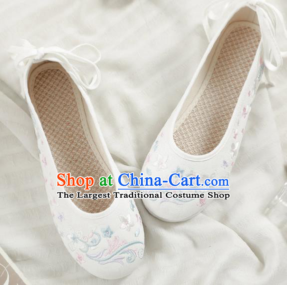 Asian Chinese Embroidered Orchid White Shoes Hanfu Shoes Traditional Opera Shoes Princess Shoes for Women