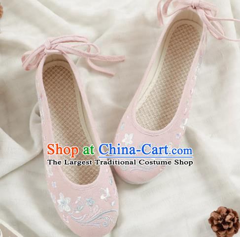 Asian Chinese Embroidered Orchid Pink Shoes Hanfu Shoes Traditional Opera Shoes Princess Shoes for Women