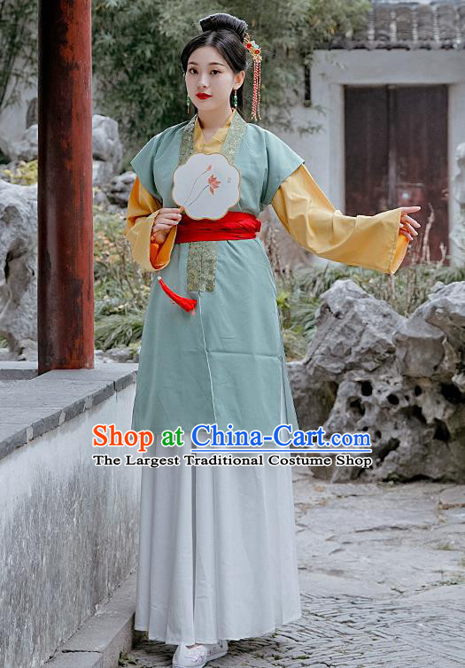 Chinese Drama A Dream in Red Mansions Traditional Ancient Ming Dynasty Maidservant Replica Costumes for Women